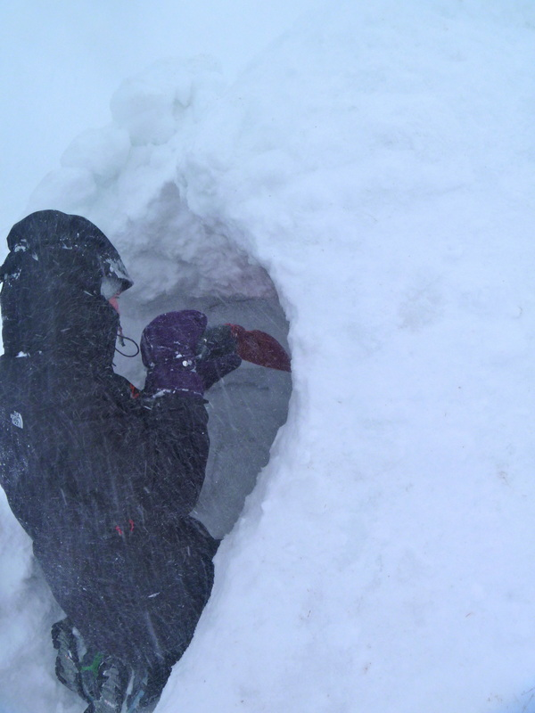 Winter skills course - building a snow shelter, Helvellyn