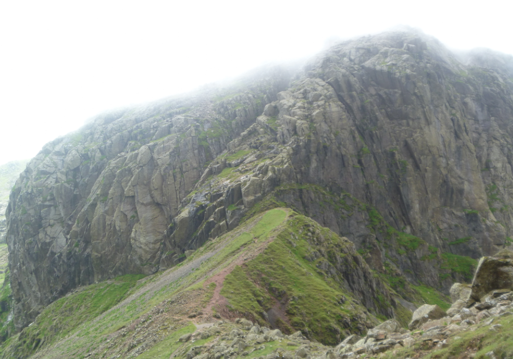Mickledore, Broad Stand and the crags of Scafell
